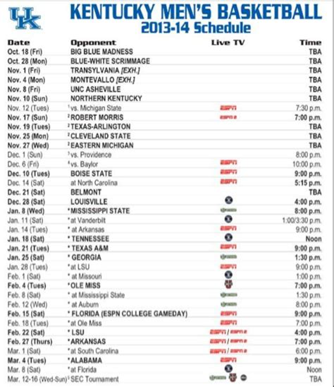 uk basketball schedule spread kentucky basketball s sec schedule released kentucky