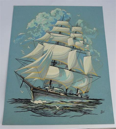 nautical painting vintage paint by numbers tall ship nautical art 16 quot x 20