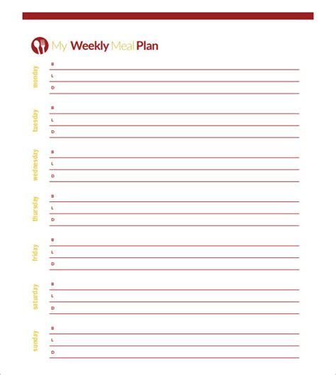blank menu planner template sle meal planning template 15 free documents