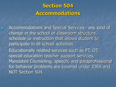 section 504 accommodations ppt what is section 504 powerpoint presentation id