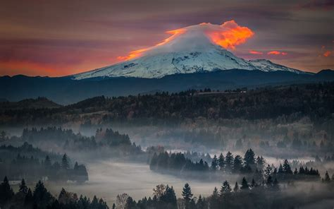 snowy peak sunset mist oregon nature forest volcano