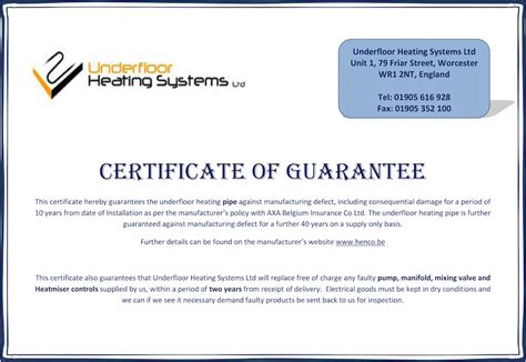 certificate of guarantee template underfloor heating pipe layout underfloor heating systems