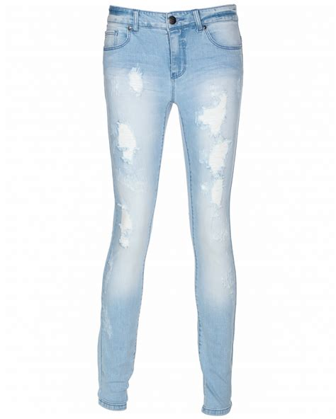 light blue jeans womens only womens distressed ripped skinny leg fit jeans light
