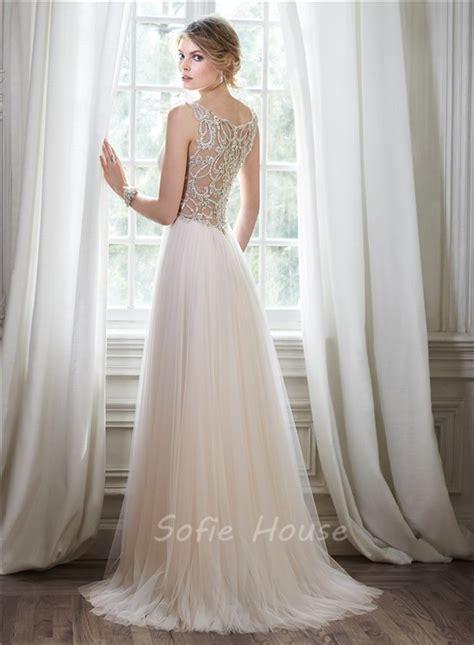 beaded back wedding dress stunning a line v neck sheer back tulle beaded