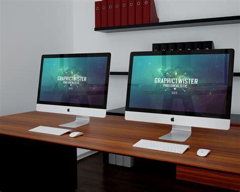 Imac On Desk by Imacs On Desk Mockup Mockupworld