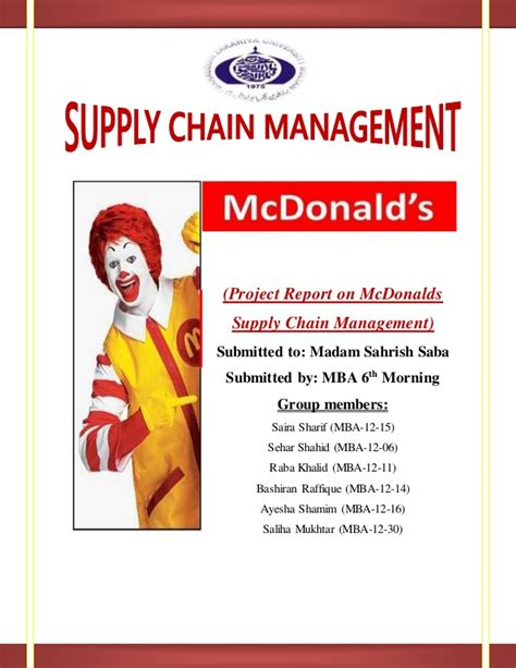 Mba Project Report On Supply Chain Management by Supply Chain Project On Mcdonalds