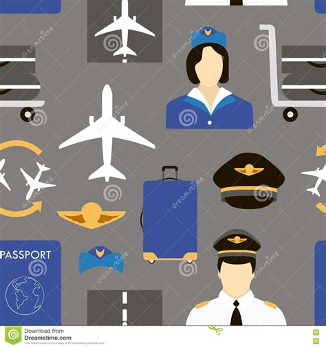 pattern airport pilot and stewardess at work stock vector illustration