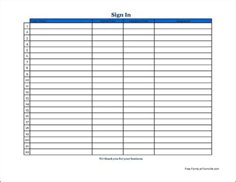 top 5 free blank sign in sheet template word doc social