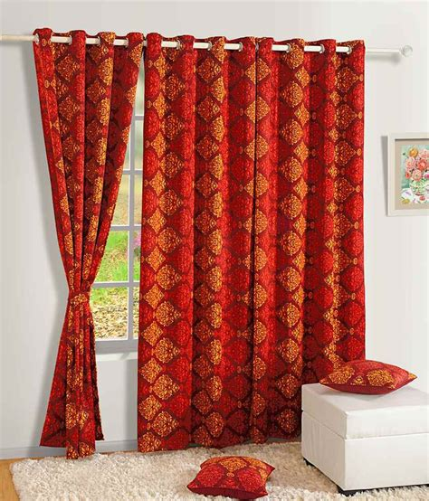 long red curtains swayam red and yellow traditional silk long door curtain