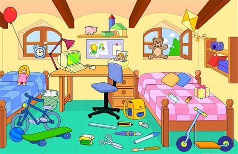 messy bedroom cartoon english exercises house rooms furniture