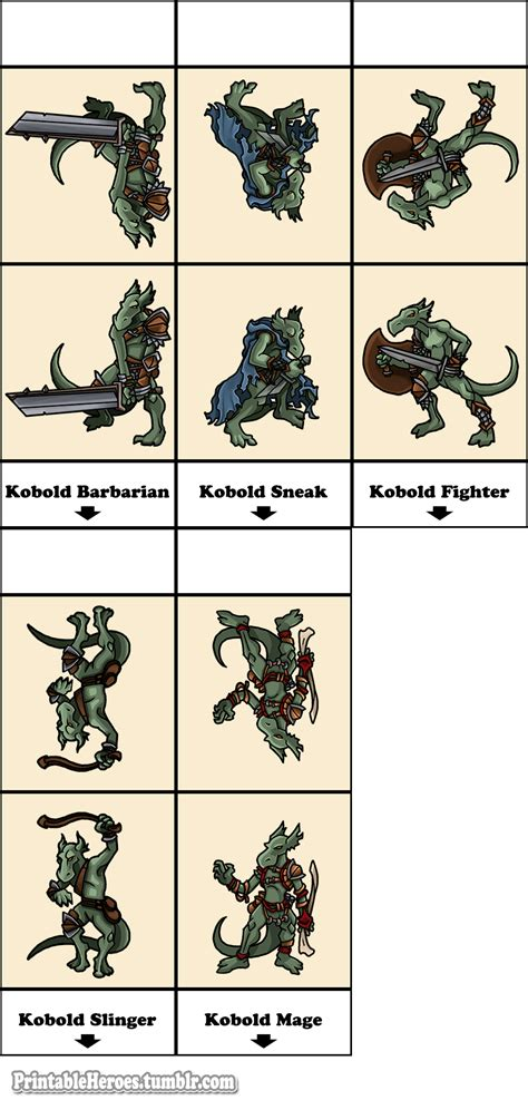 printable heroes printable heroes here s the full kobold set in print