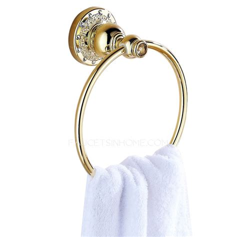 antique polished brass gold metal towel rings