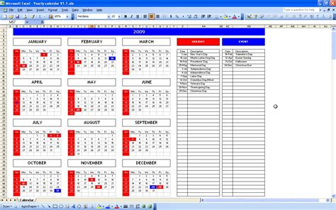 calendar template excel yearly calendar with automatic color marker excel templates