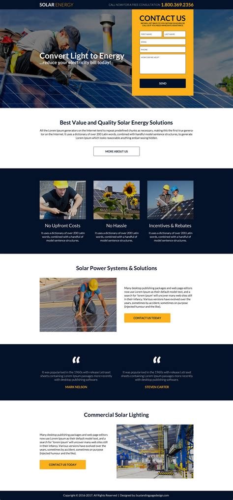 free lead capture page templates solar energy panels installing company landing page design
