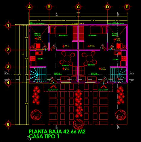 duplex two story house 2d dwg project for autocad
