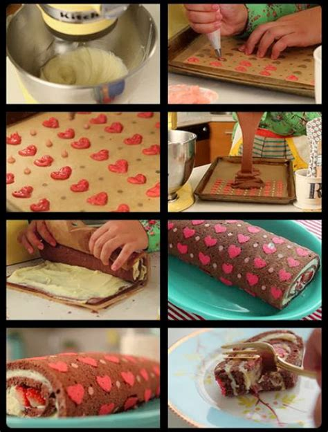 heart patterned roll cake diy hearts pattern cake roll the idea king
