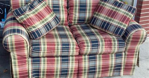 plaid loveseat uhuru furniture collectibles sold reduced highland