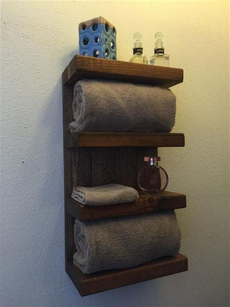 wooden bathroom shelf using old pallets for bathroom pallet wood projects