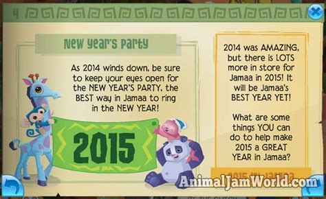 new year animals every year happy new year new code for 2015 animal jam world