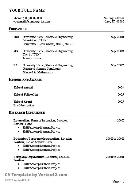 Curriculum Vitae Samples In Pdf by Free Cv Template Curriculum Vitae Template And Cv Example