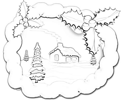 winter snow scene coloring page coloring pages
