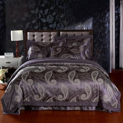 silk comforter king free shipping jacquard cotton satin 4pcs noble king silk