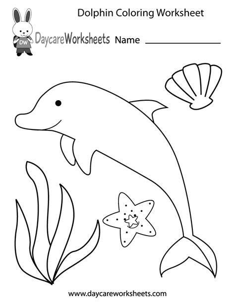 Free Preschool Dolphin Coloring Worksheet Colour Worksheets For Preschoolers