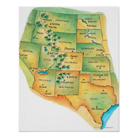 printable map of the western united states map of western united states print zazzle