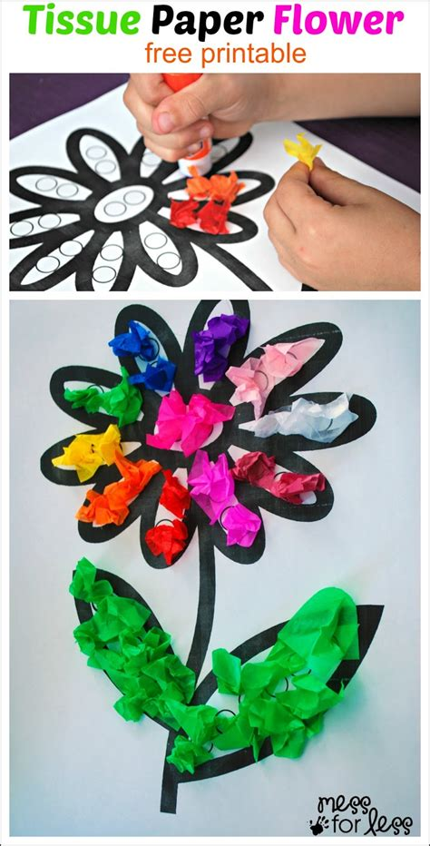 Crafts Out Of Tissue Paper - tissue paper flower activity mess for less