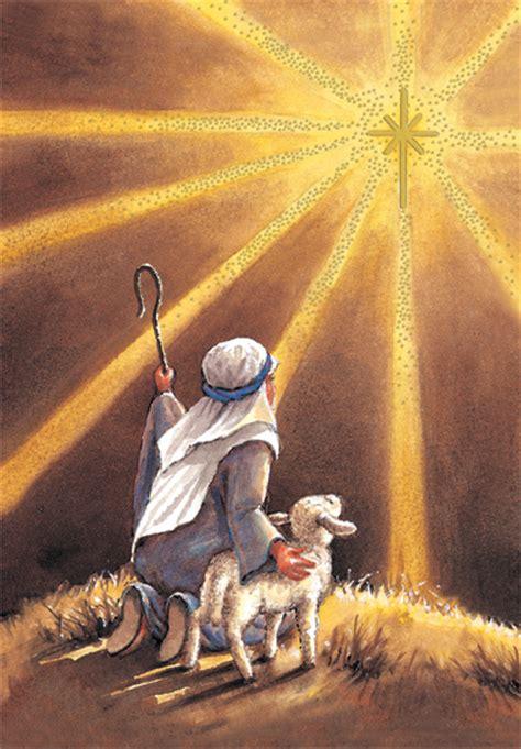 shepherd sees star box   religious christmas cards  designer