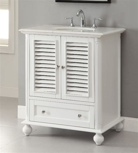 Small Powder Room - adelina 30 inch cottage white finish bathroom vanity white marble counter top