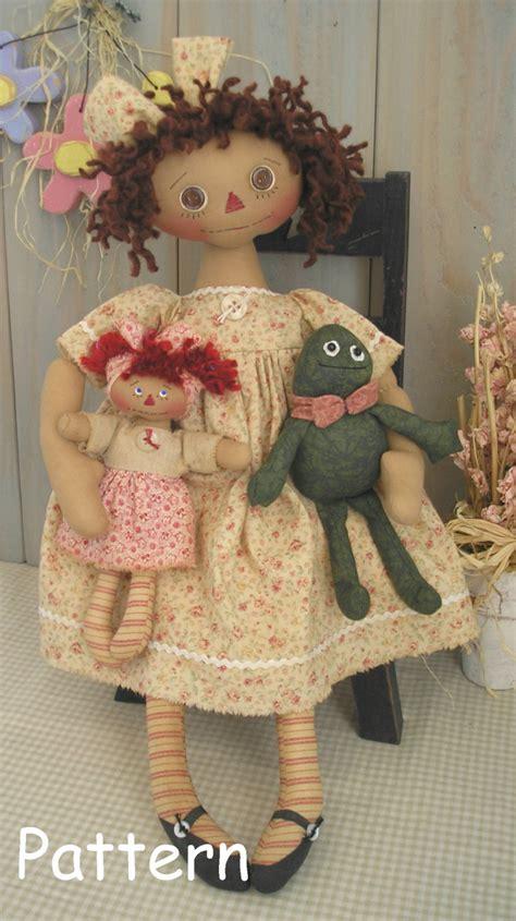 pattern for art doll pdf e pattern 20 primitive raggedy ann doll frog mini