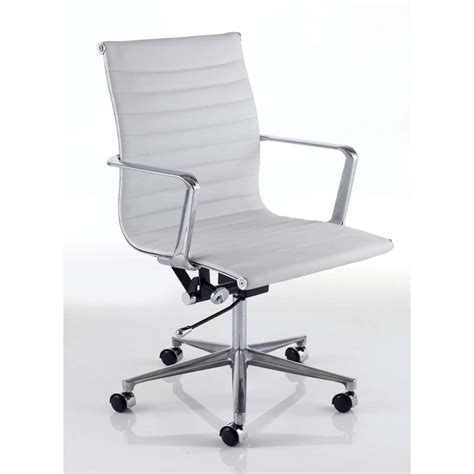 white leather office chair vicenza contemporary white leather effect office chair