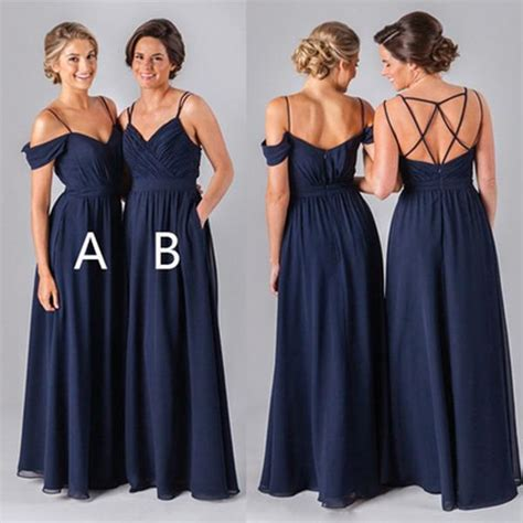 mismatched  styles chiffon navy blue formal