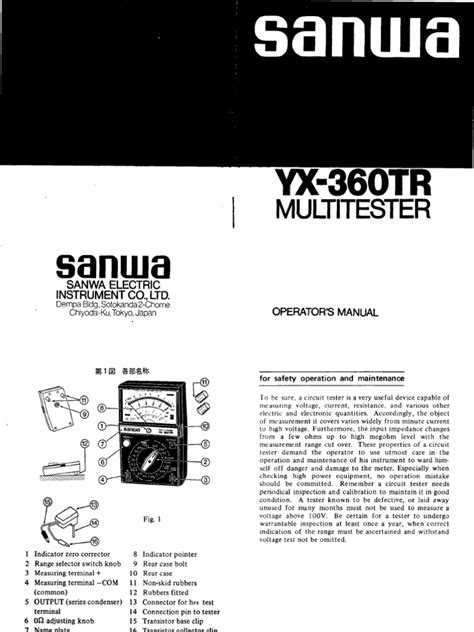 Multitester Yx 360tr sanwa yx 360tr multitester lifier electrical impedance
