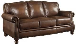Coaster furniture montbrook brown leather sofa 503981