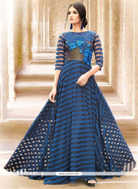 Satin Dress Made In India buy glossy embroidered work satin navy blue readymade gown