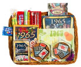 50th wedding anniversary gift basket with 1965 or 1966 sts