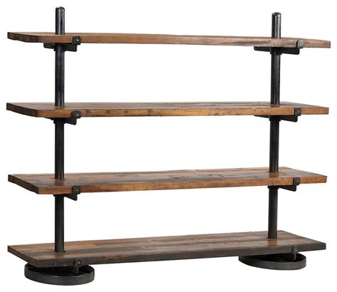 Rack with wood shelf medium wood industrial display and wall shelves