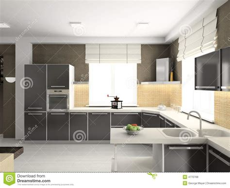 modern kitchen interior 3d rendering 3d render modern interior of kitchen royalty free stock