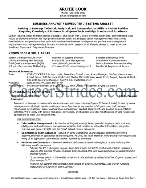 resume exles business analyst business systems analyst resume template