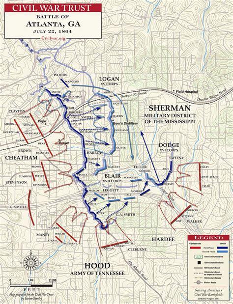 map of atlanta during civil war battle of atlanta july 22 1864 civil war trust
