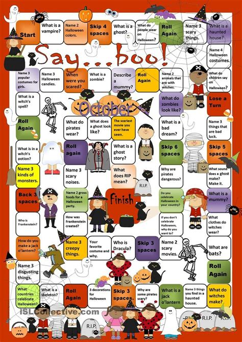 printable board games for adults halloween board game worksheet free esl printable
