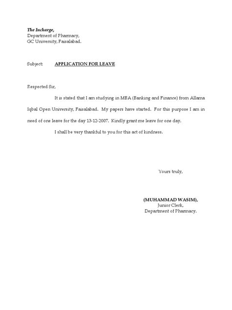 Official Vacation Letter Application For Leave