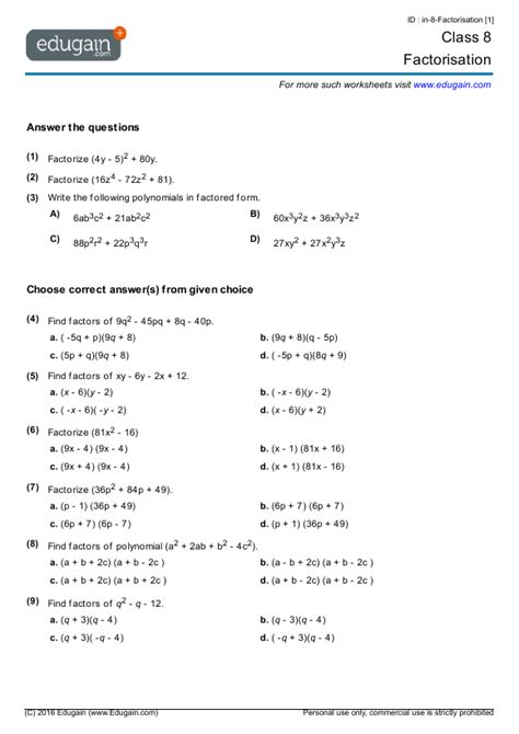 year 8 math worksheets and problems factorisation