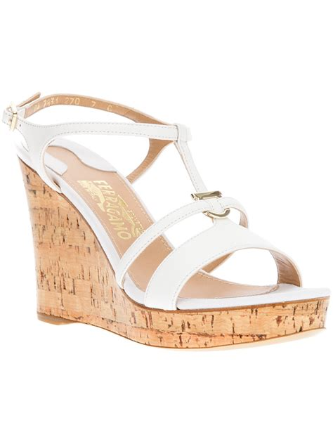 Sandal White ferragamo wedge sandal in white lyst