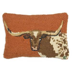 longhorn hooked wool pillow 14 x 20