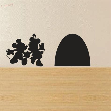 hot mickey mouse minnie vinyl mural wall sticker decals mickey and minnie mouse hole house vinyl wall sticker new