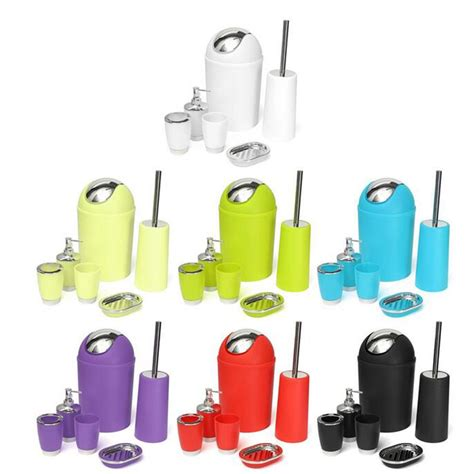 bathroom toothbrush holder set 6pcs bathroom accessory bin soap dish dispenser tumbler