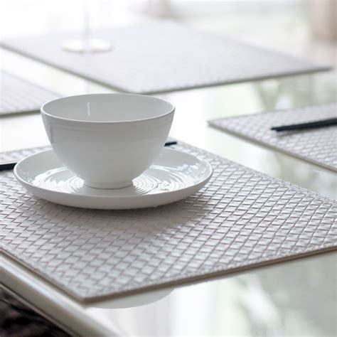 Table Plate Mats by Set Of 4 31 41cm Reversible Faux Leather Rhombus White